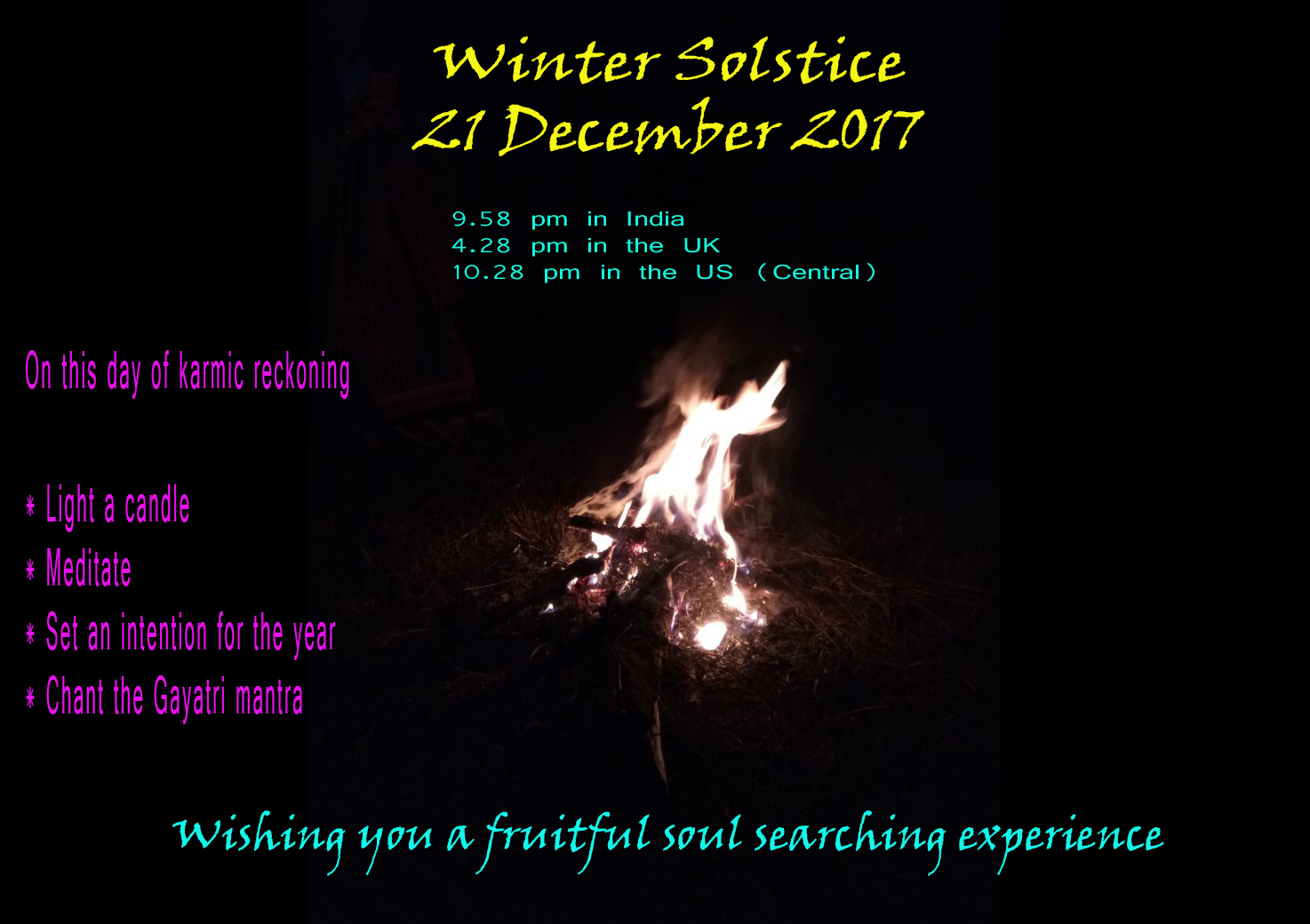 Winter Solstice 2017: Wishing you a fruitful soul searching experience